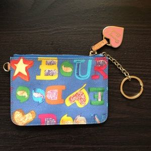 Dooney & Bourke Colorful Sketch Writing Wristlet